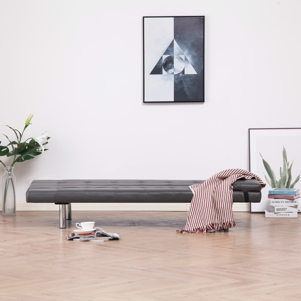 Sofa Bed with Two Pillows Grey Faux Leather 3