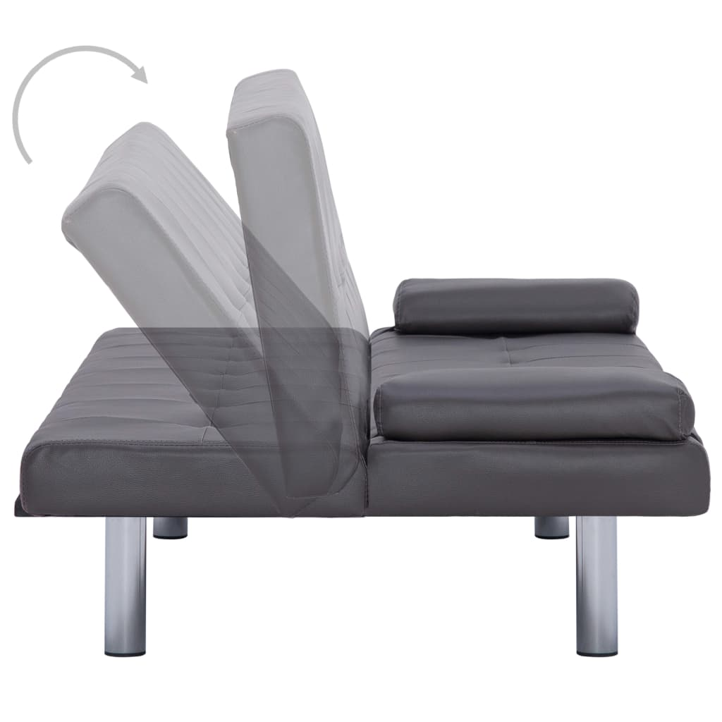 Sofa Bed with Two Pillows Grey Faux Leather 5