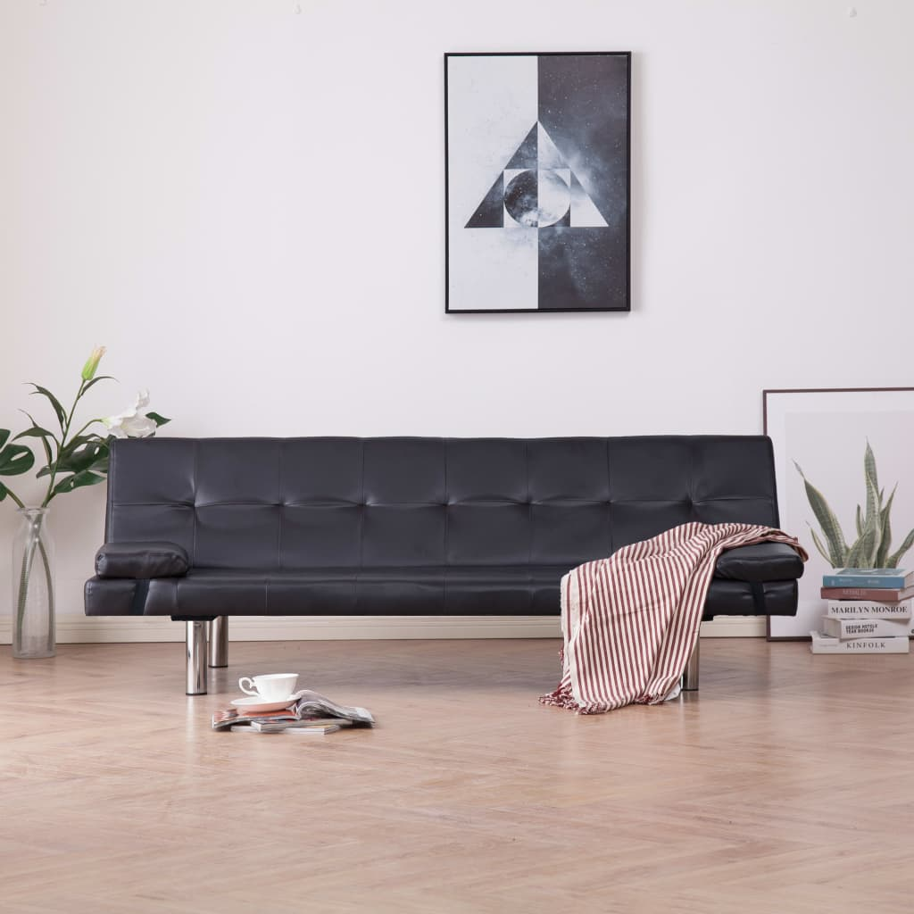 Sofa Bed with Two Pillows Brown Faux Leather