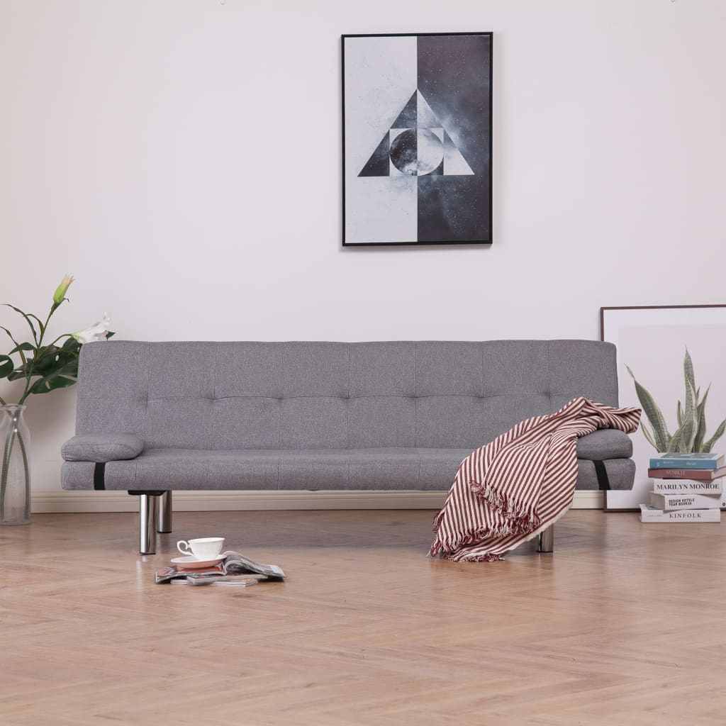 Sofa Bed with Two Pillows Light Grey Polyester 1