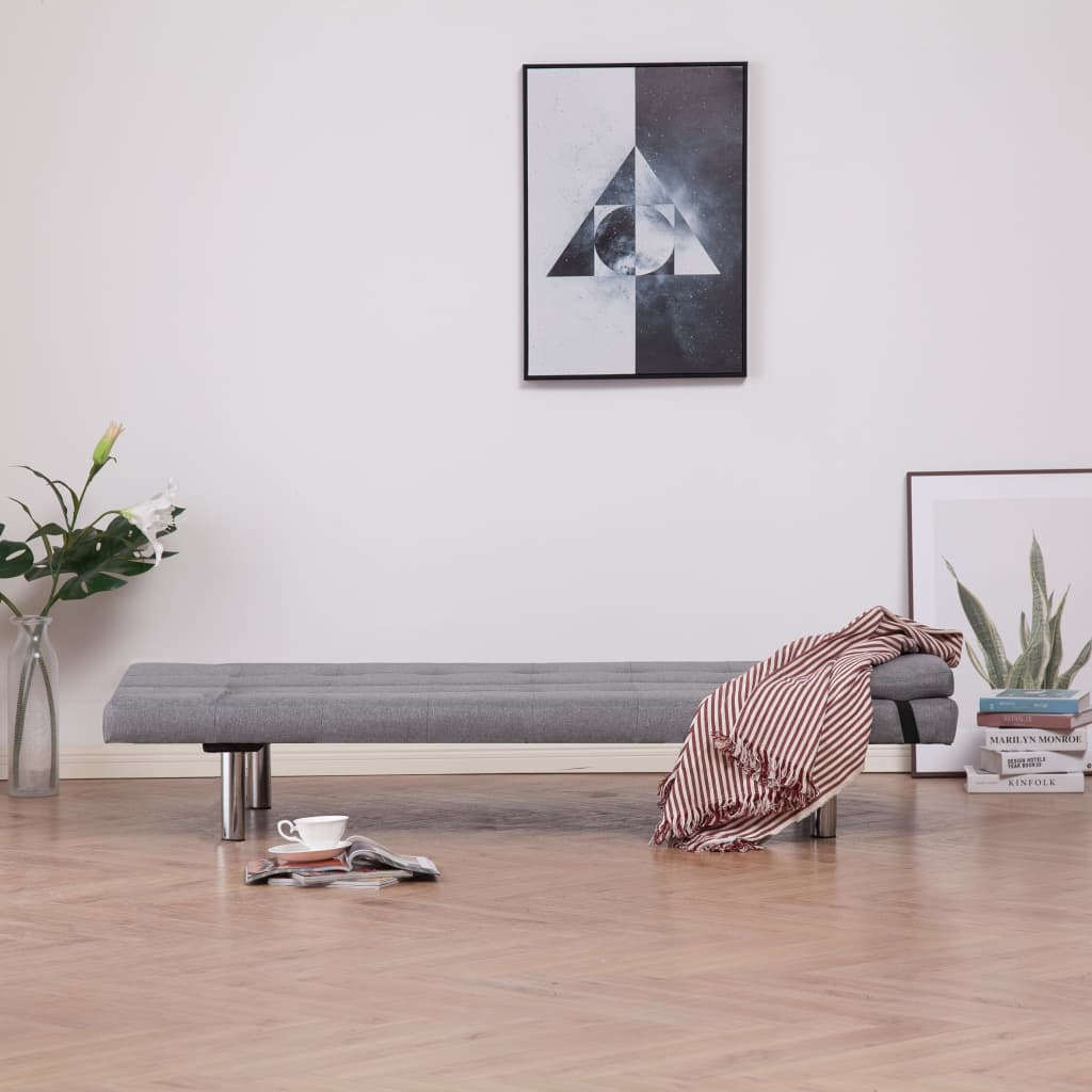 Sofa Bed with Two Pillows Light Grey Polyester 2