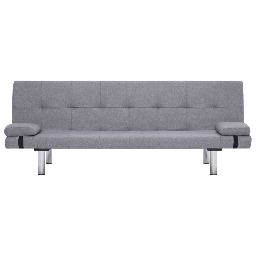 Sofa Bed with Two Pillows Light Grey Polyester 5