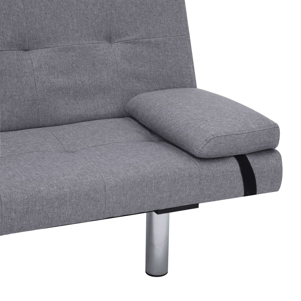 Sofa Bed with Two Pillows Light Grey Polyester 9