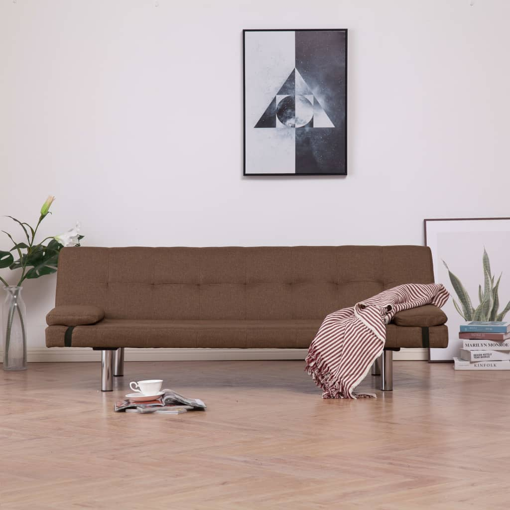 Sofa Bed with Two Pillows Brown Polyester
