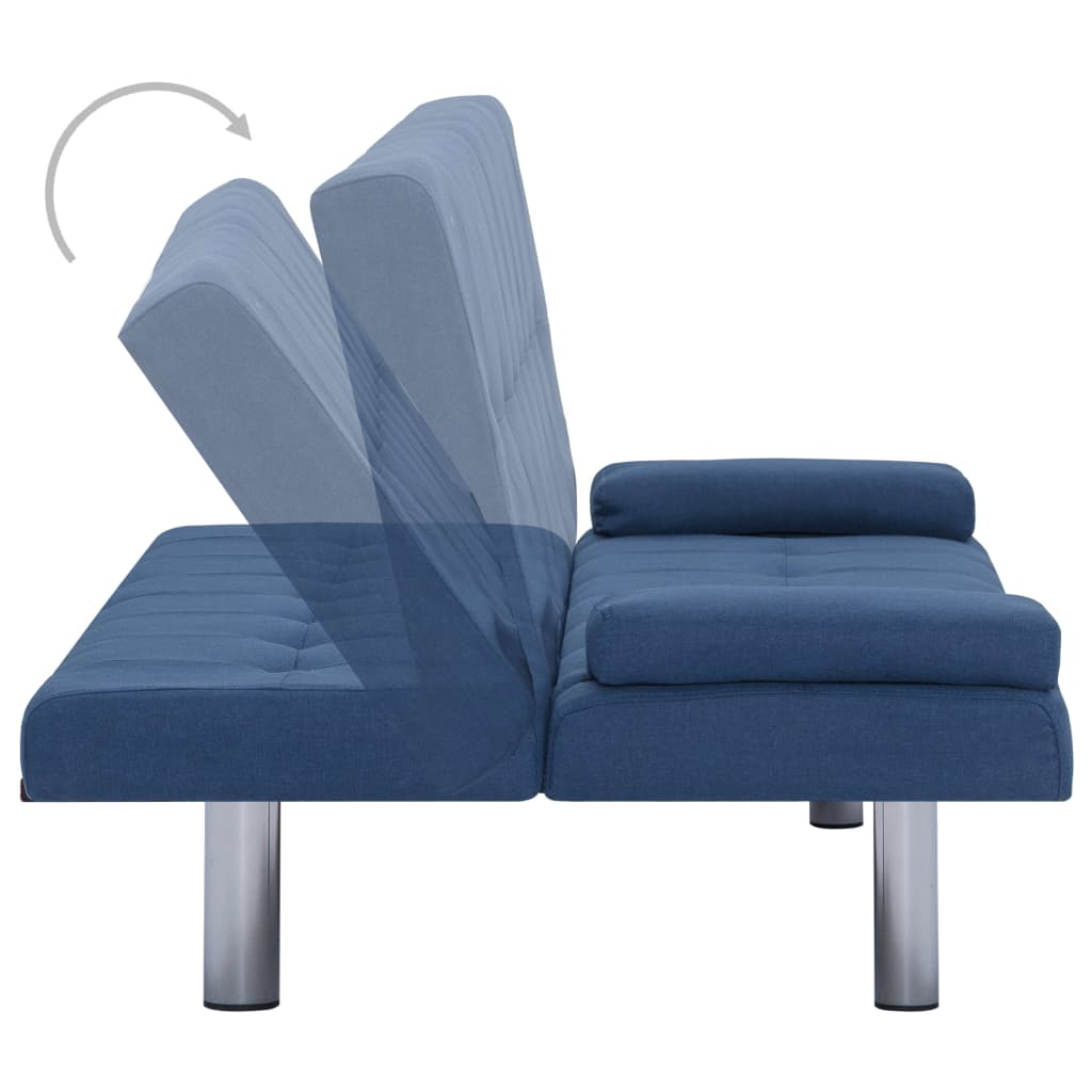 Sofa Bed with Two Pillows Blue Polyester 5