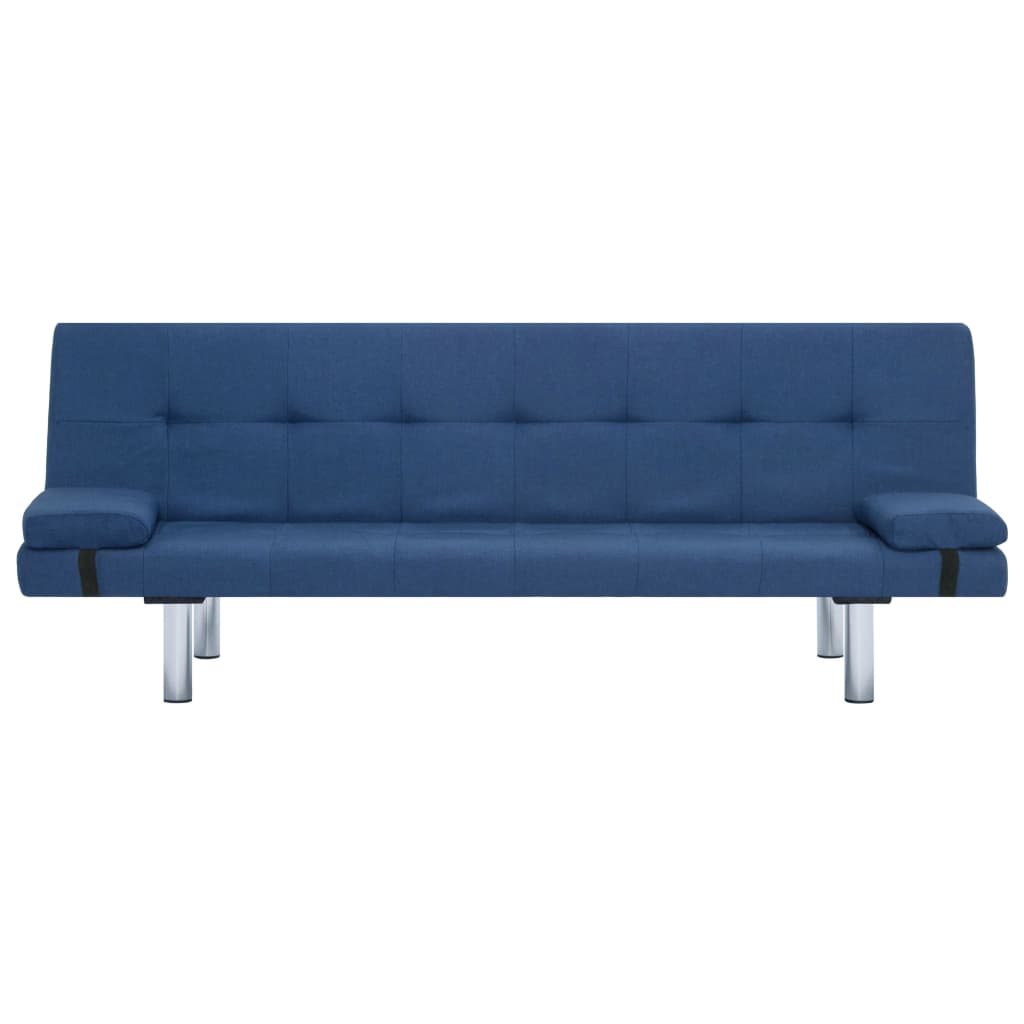 Sofa Bed with Two Pillows Blue Polyester 6