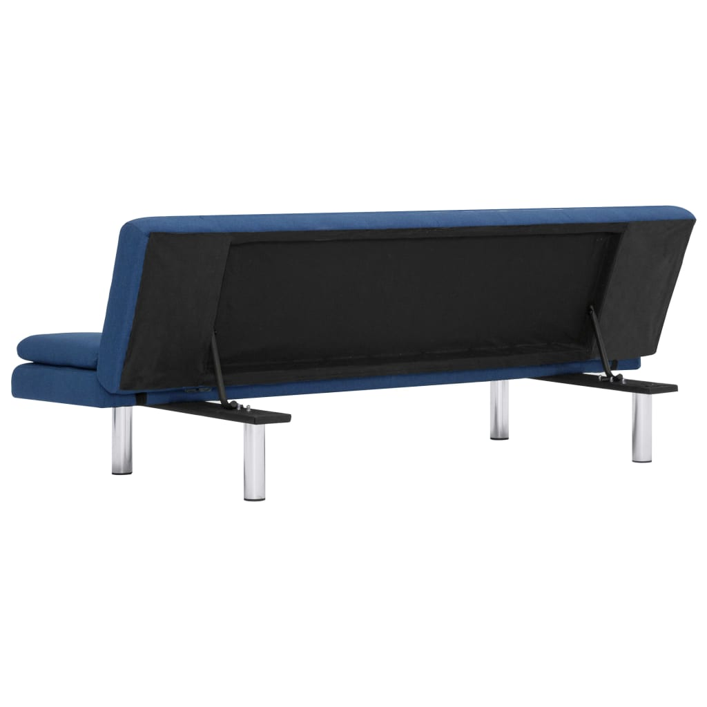 Sofa Bed with Two Pillows Blue Polyester 7