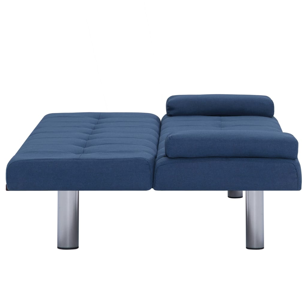 Sofa Bed with Two Pillows Blue Polyester 9