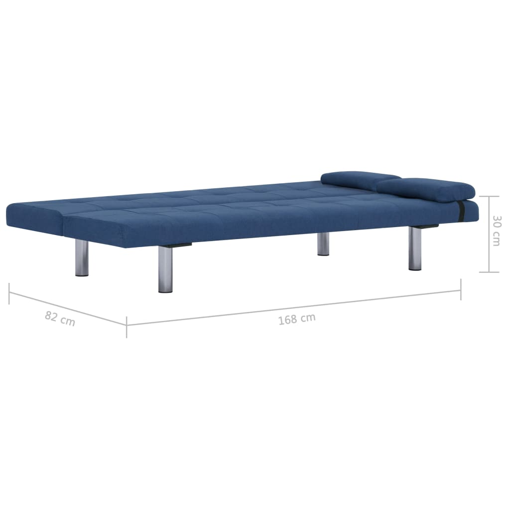 Sofa Bed with Two Pillows Blue Polyester 11