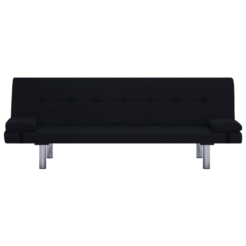 Sofa Bed with Two Pillows Black Polyester 6