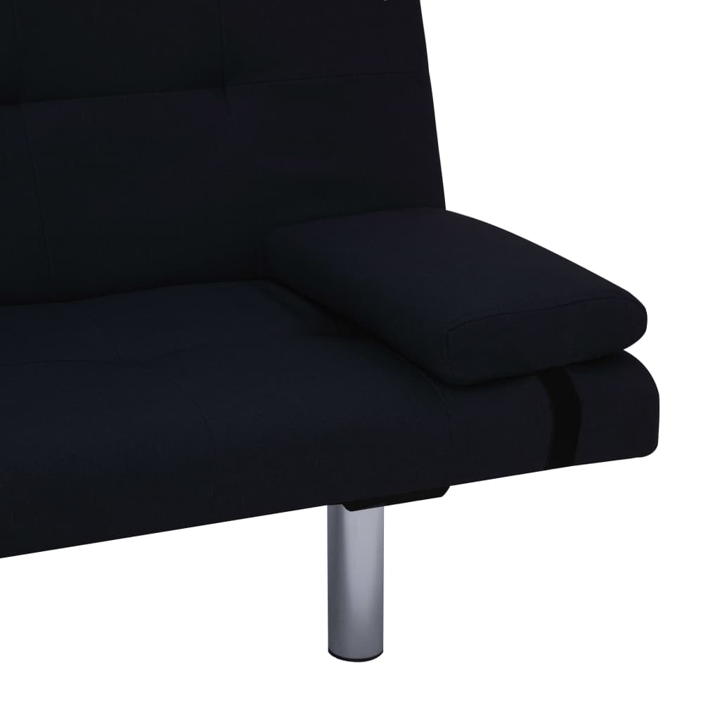 Sofa Bed with Two Pillows Black Polyester 10