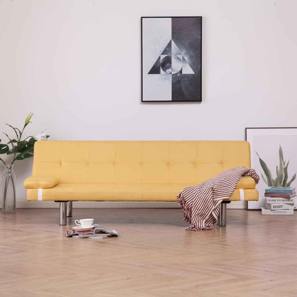 Sofa Bed with Two Pillows Yellow Polyester