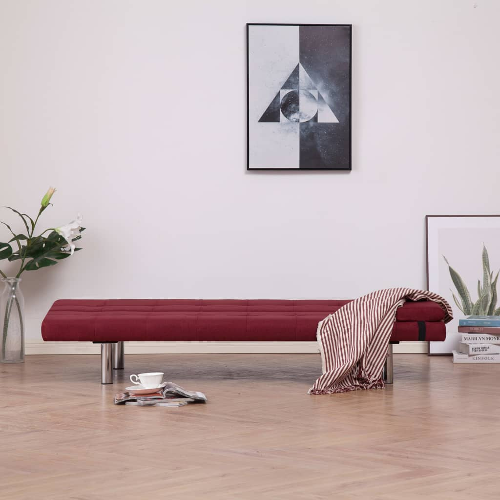 Sofa Bed with Two Pillows Wine Red Polyester 3