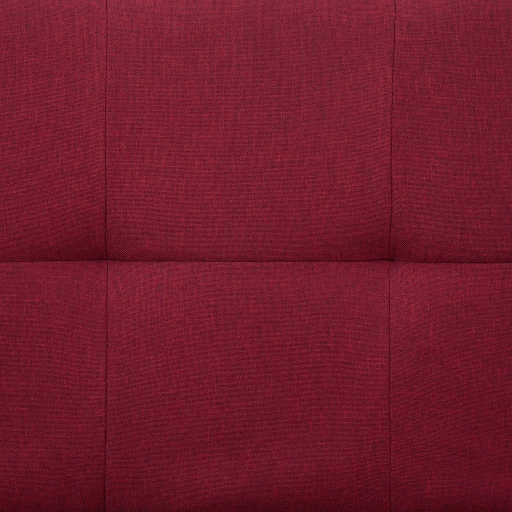Sofa Bed with Two Pillows Wine Red Polyester 4