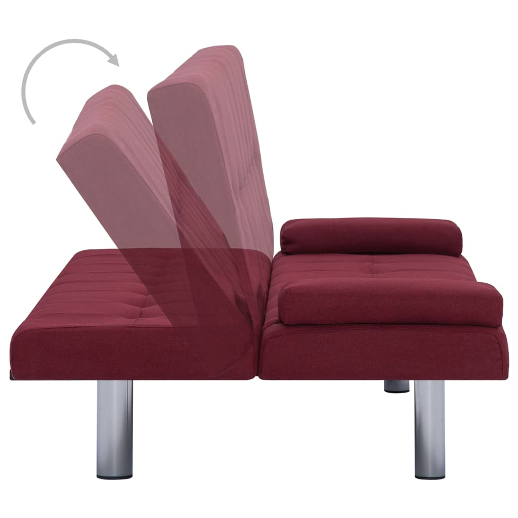 Sofa Bed with Two Pillows Wine Red Polyester 5