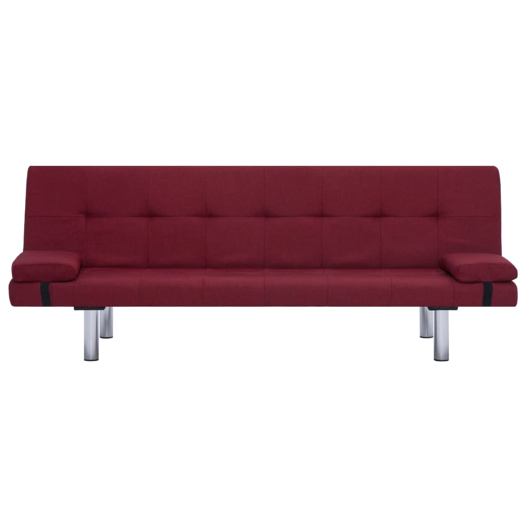Sofa Bed with Two Pillows Wine Red Polyester 6