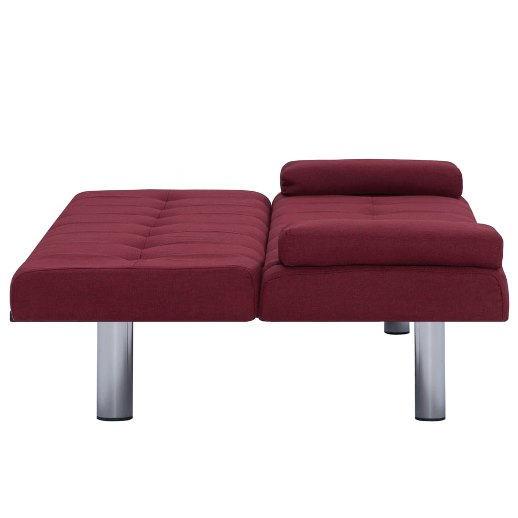 Sofa Bed with Two Pillows Wine Red Polyester 9