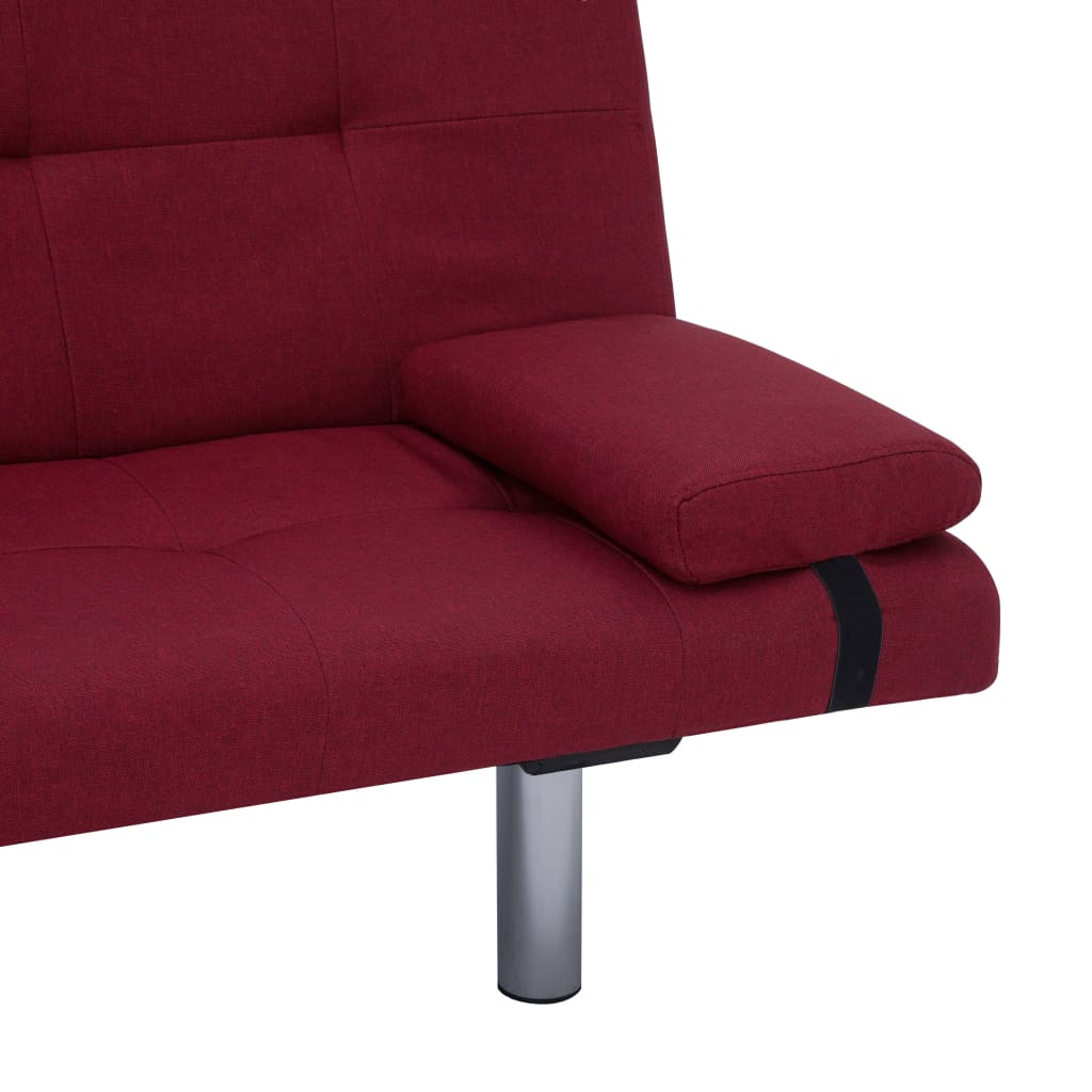 Sofa Bed with Two Pillows Wine Red Polyester 10