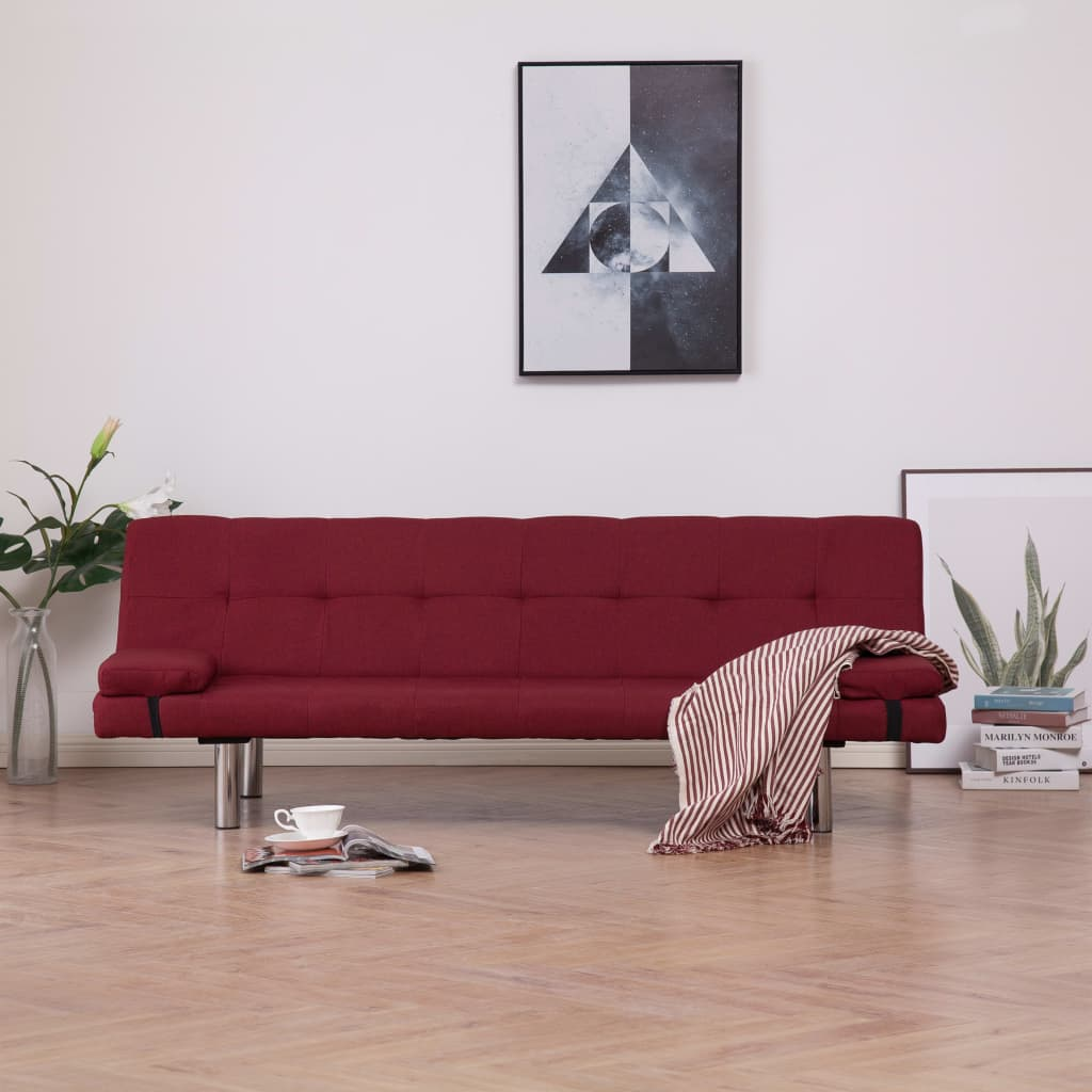 Sofa Bed with Two Pillows Wine Red Polyester 1