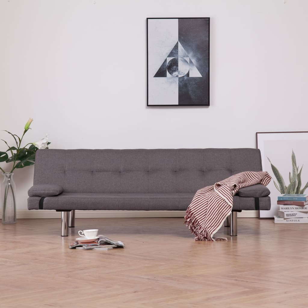 Sofa Bed with Two Pillows Taupe Polyester
