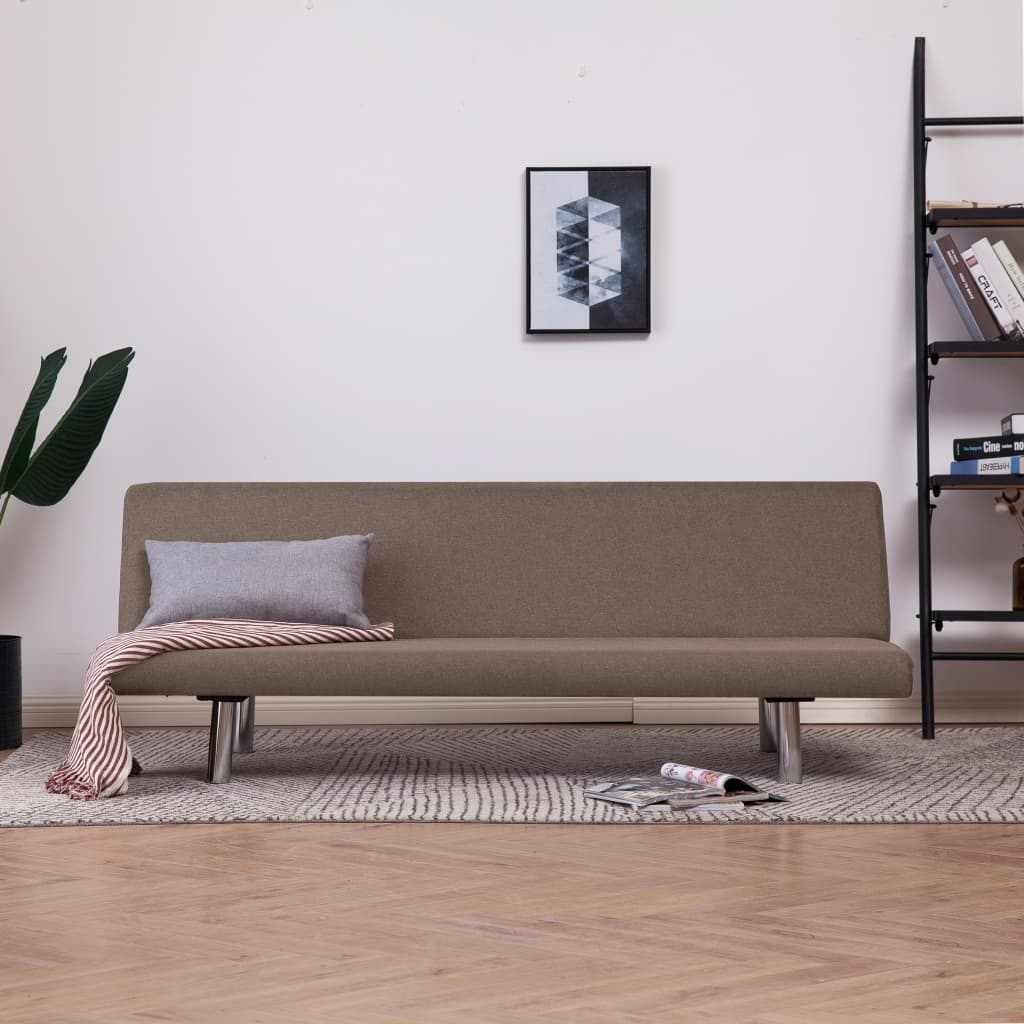 Sofa Bed Taupe Polyester 1