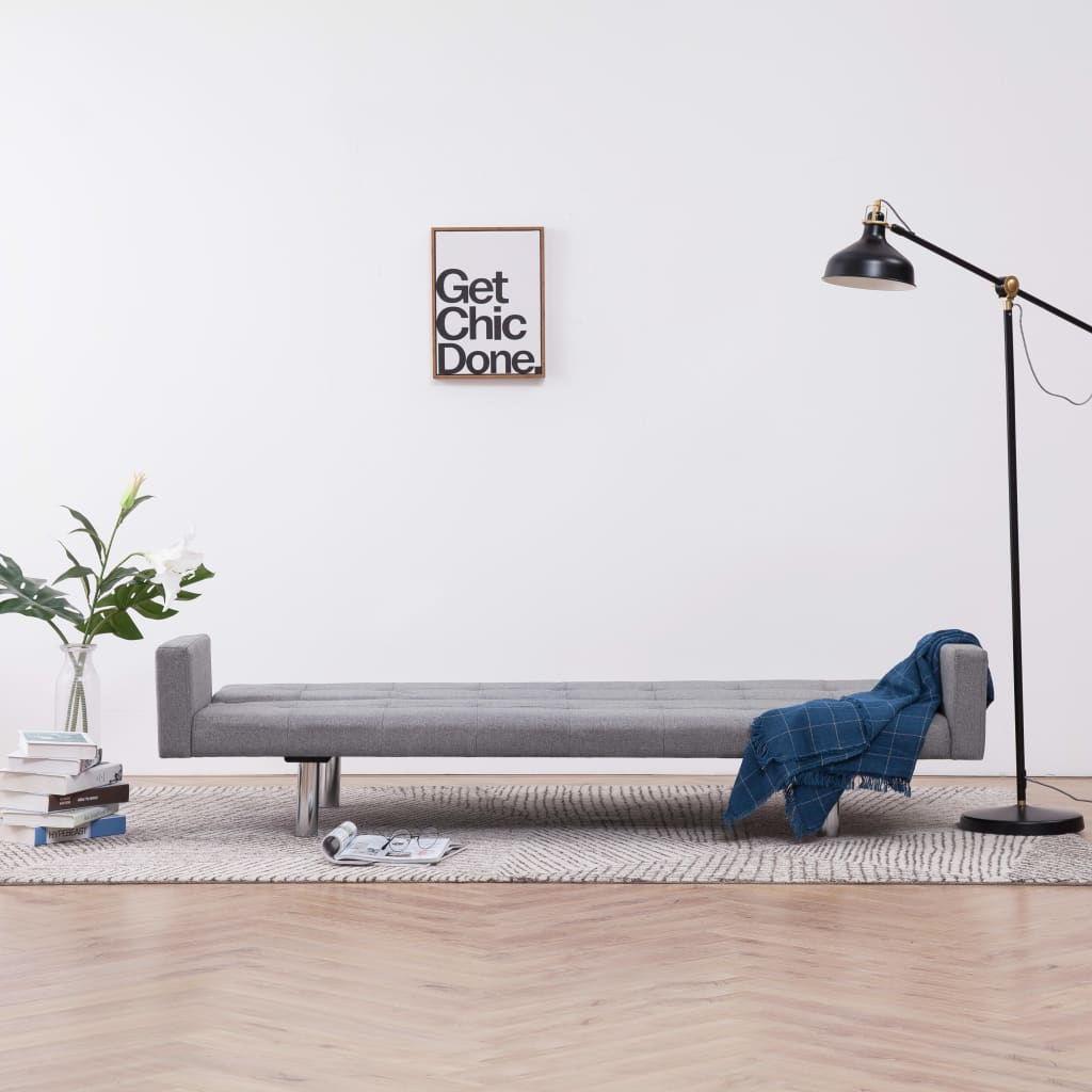 Sofa Bed with Armrest Light Grey Polyester 3