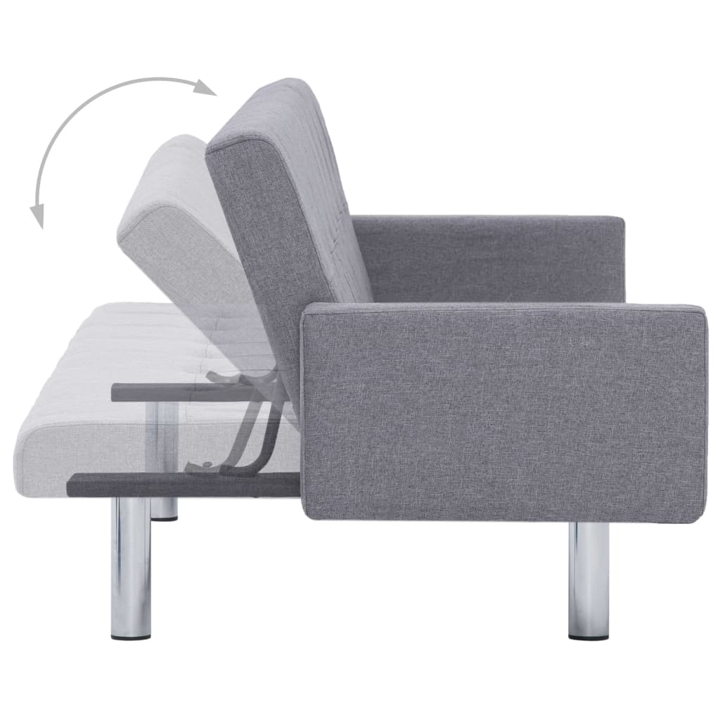 Sofa Bed with Armrest Light Grey Polyester 7