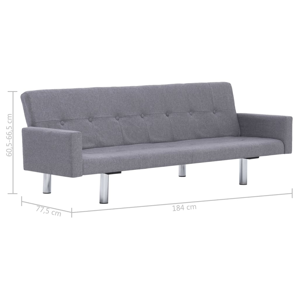 Sofa Bed with Armrest Light Grey Polyester 10
