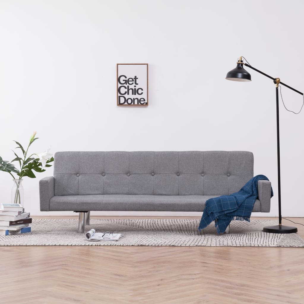 Sofa Bed with Armrest Light Grey Polyester
