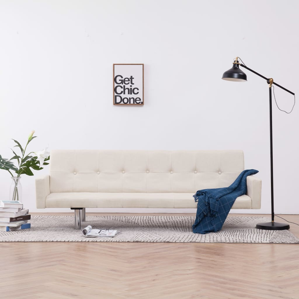 Sofa Bed with Armrest Cream Polyester