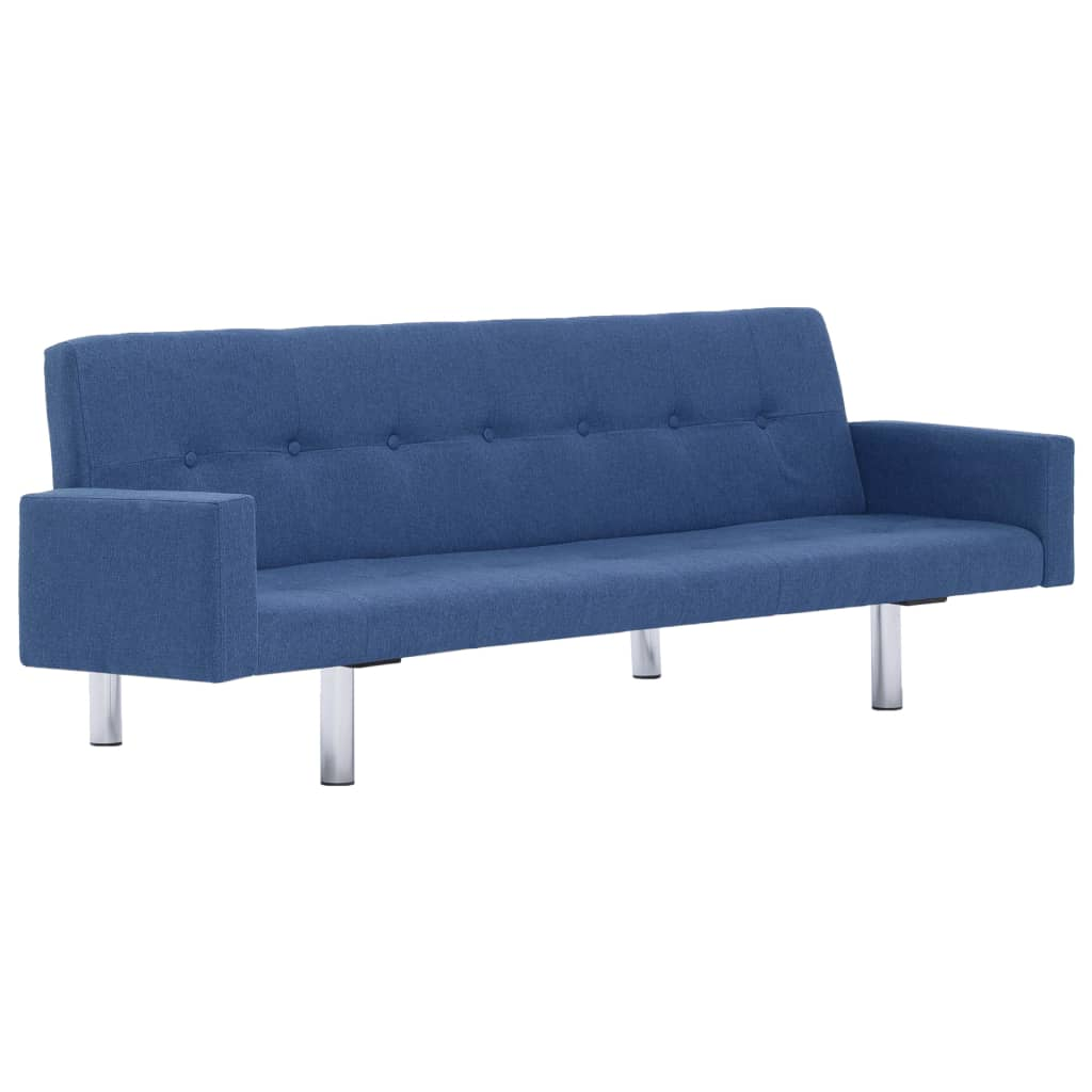 Sofa Bed with Armrest Blue Polyester 2