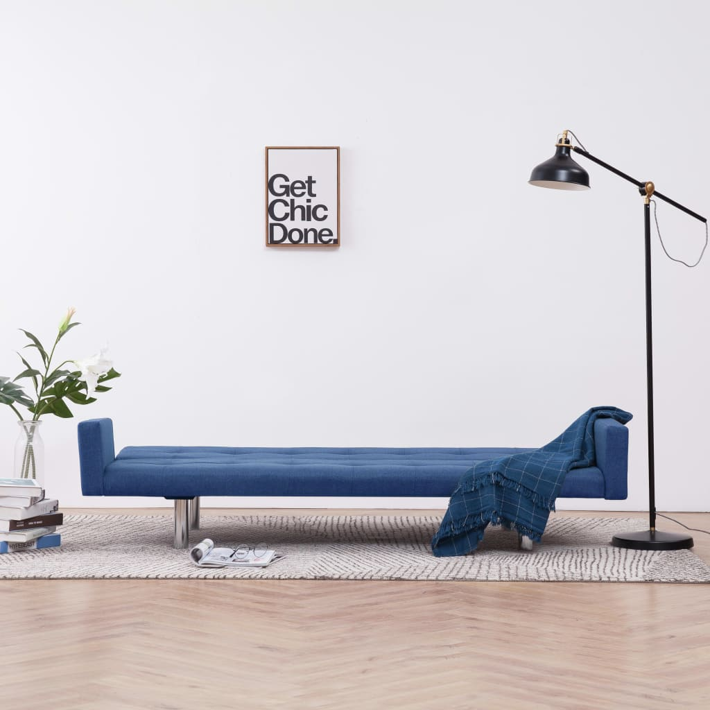 Sofa Bed with Armrest Blue Polyester 3