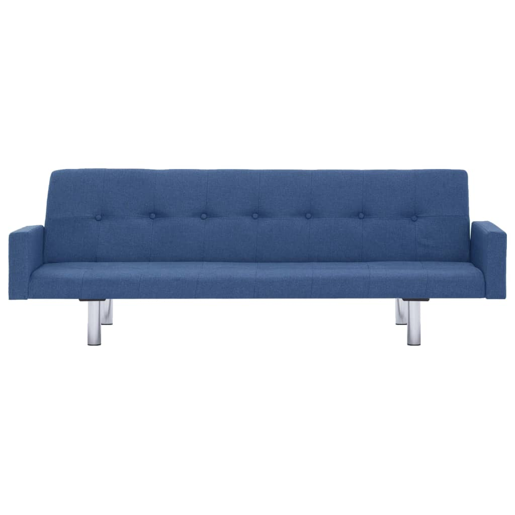 Sofa Bed with Armrest Blue Polyester 5