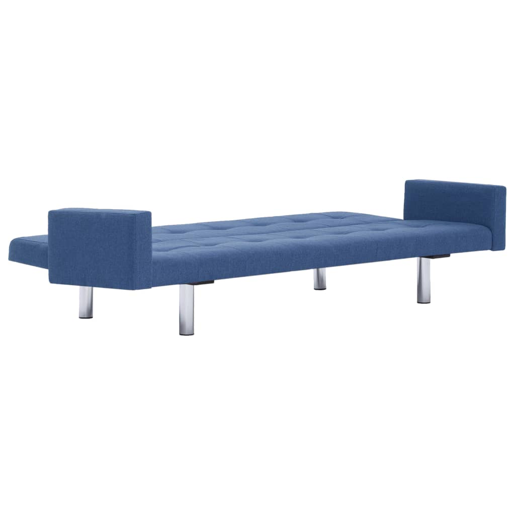 Sofa Bed with Armrest Blue Polyester 8
