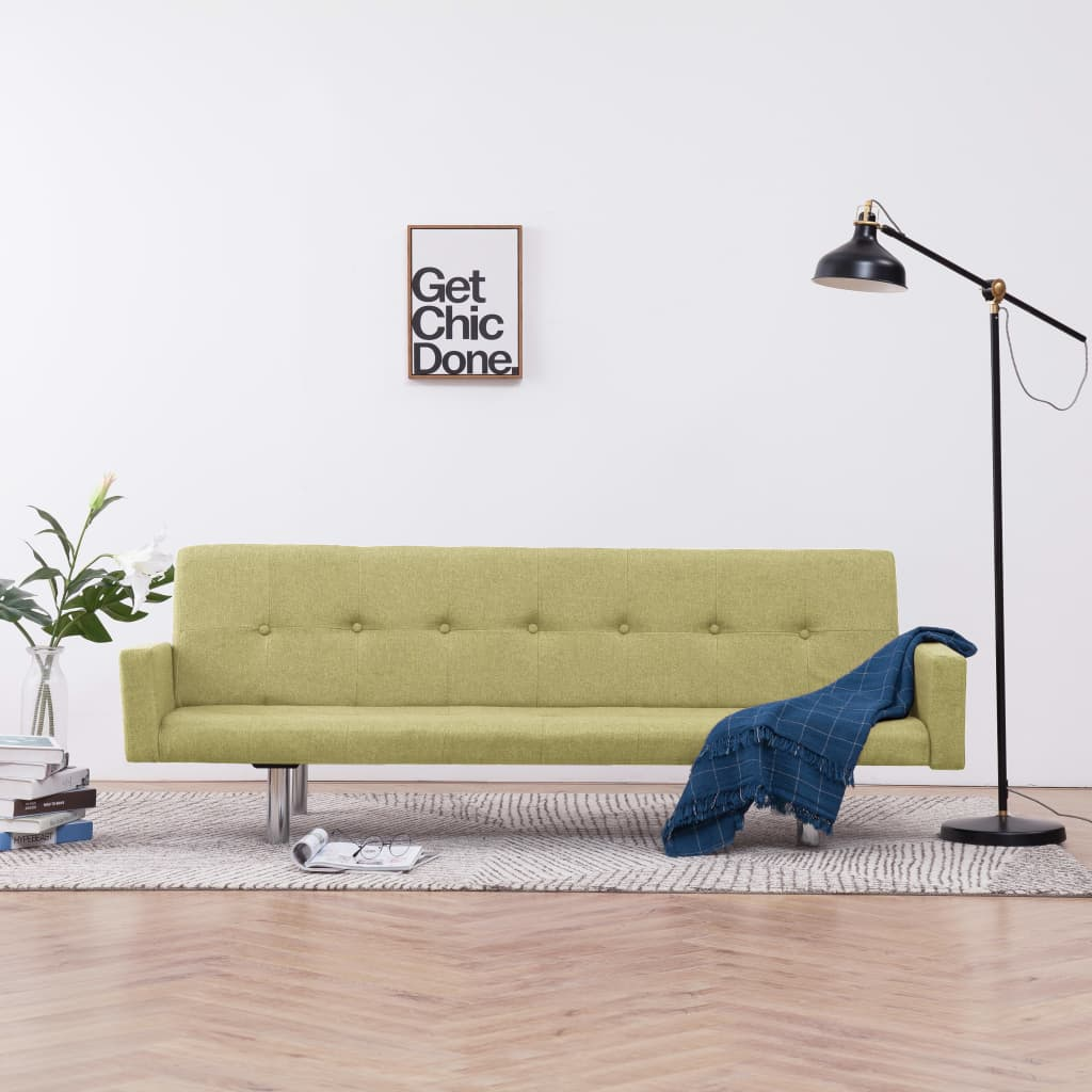 Sofa Bed with Armrest Green Polyester