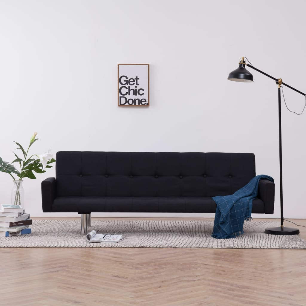 Sofa Bed with Armrest Black Polyester