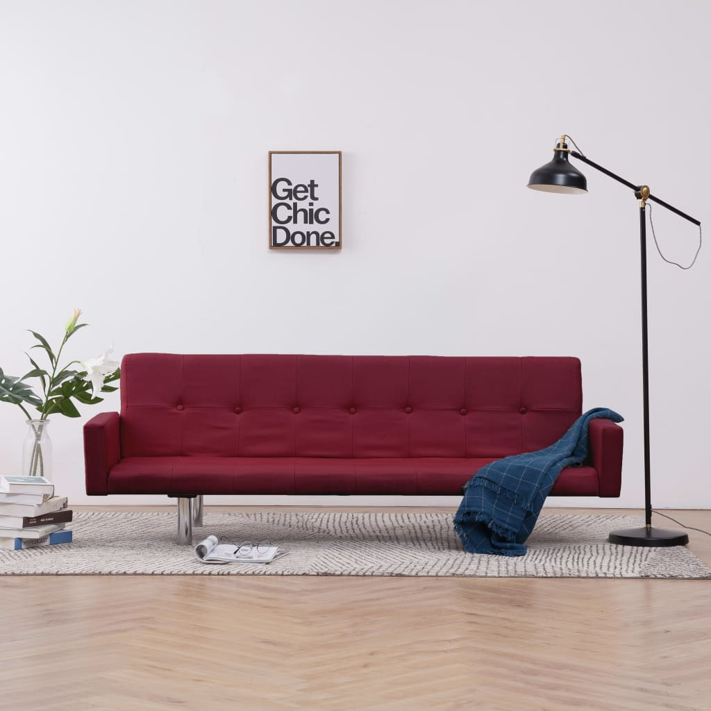Sofa Bed with Armrest Wine Red Polyester