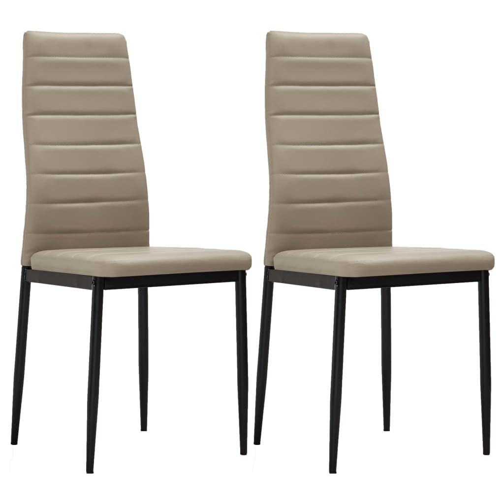Dining Chairs 2 pcs Cappuccino Faux Leather