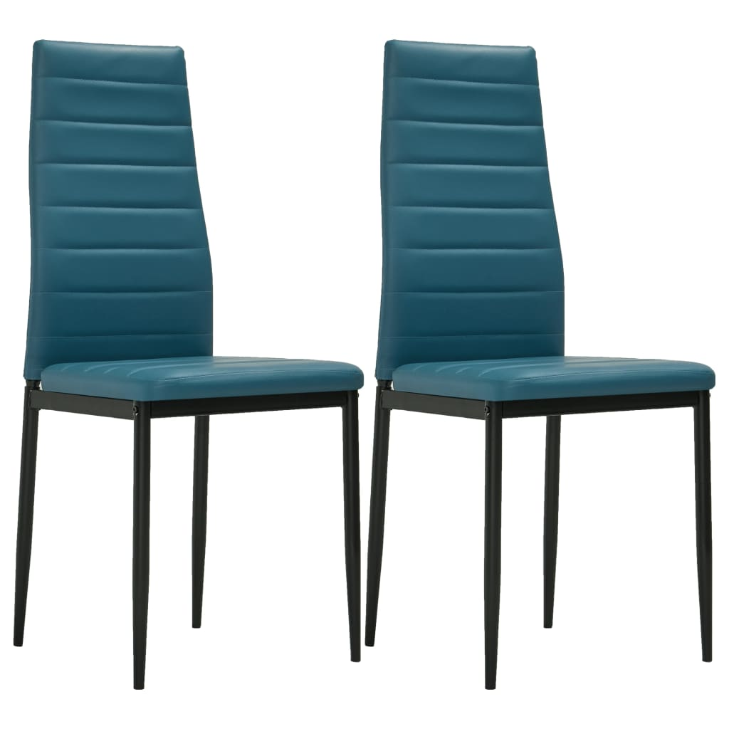 Dining Chairs 2 pcs Sea Blue Faux Leather