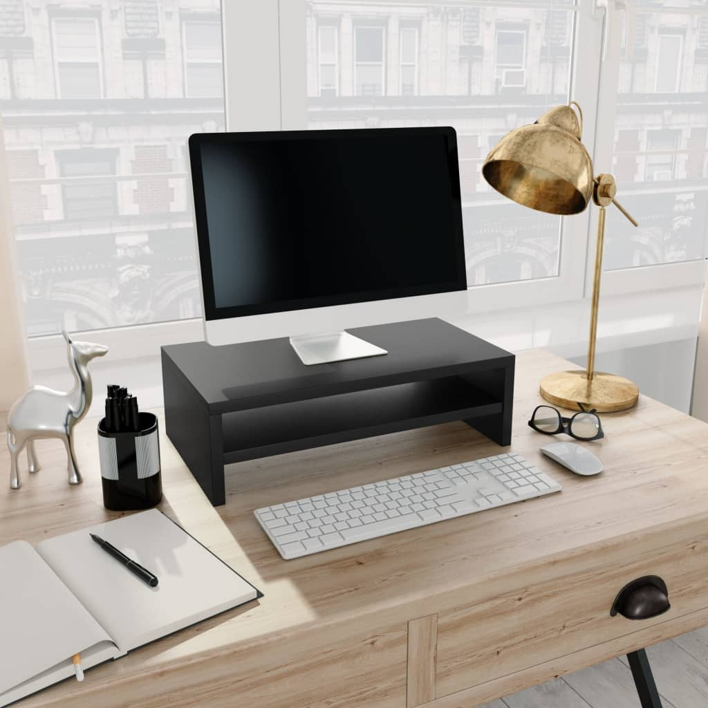 Monitor Stand Black 42x24x13 cm Chipboard