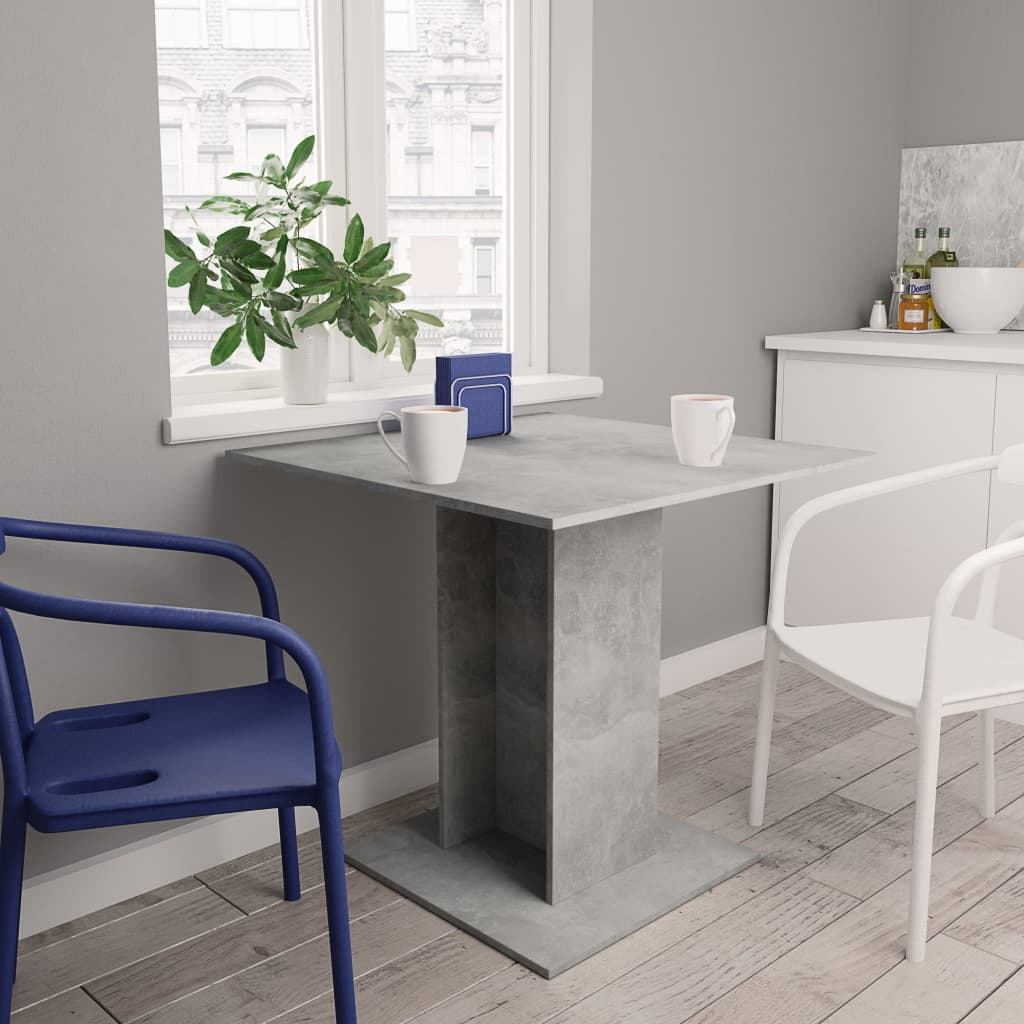 Dining Table Concrete Grey 80x80x75 cm Chipboard