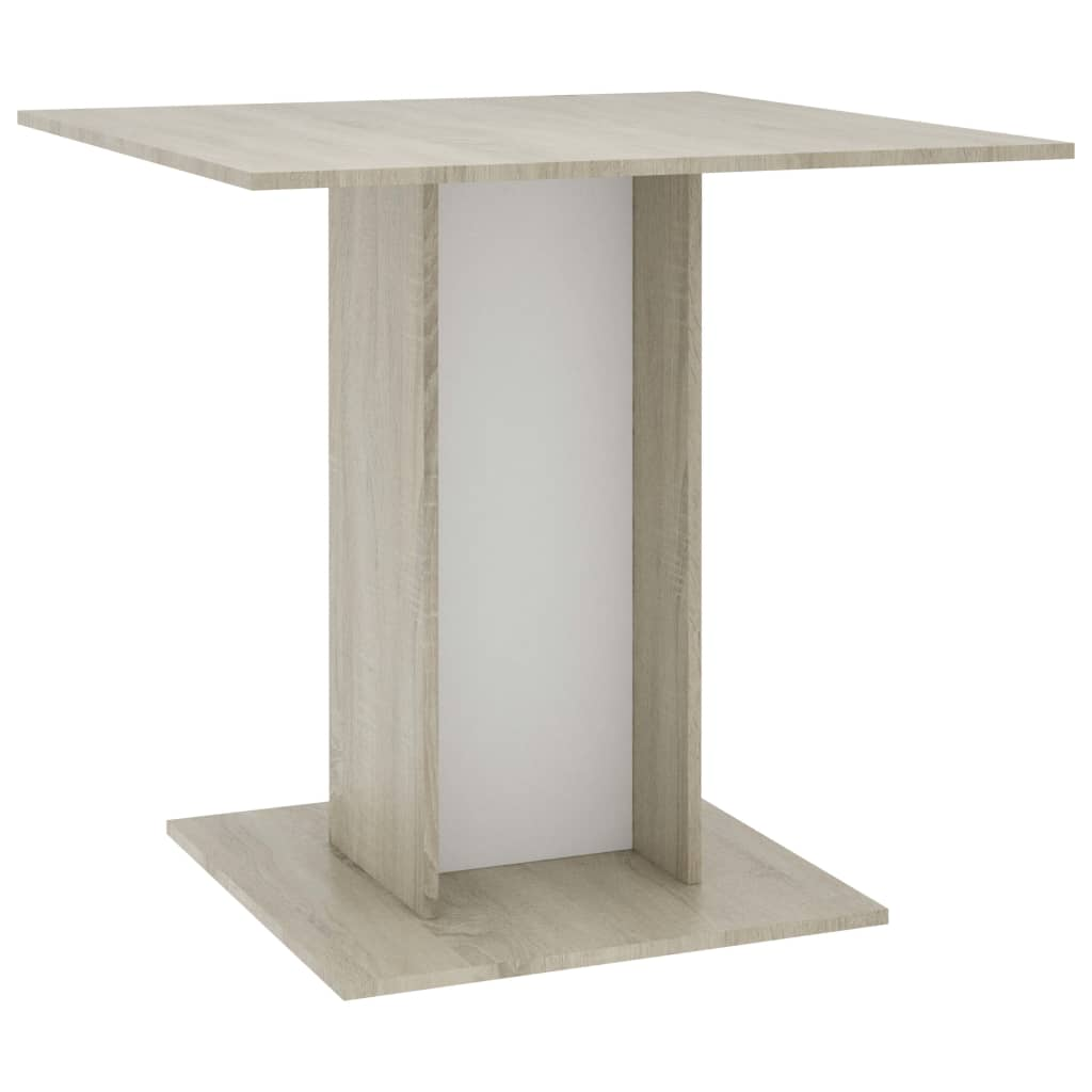 Dining Table White and Sonoma Oak 80x80x75 cm Chipboard 2