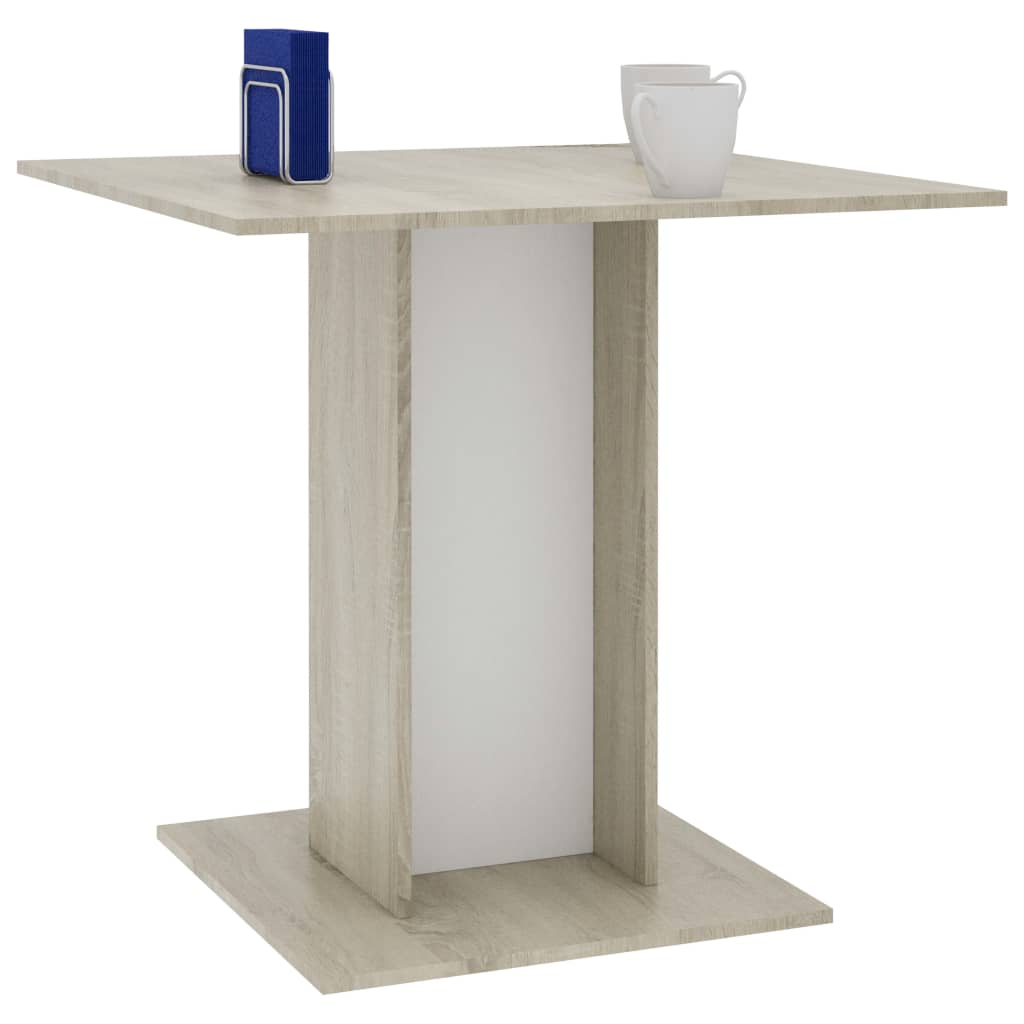 Dining Table White and Sonoma Oak 80x80x75 cm Chipboard 3