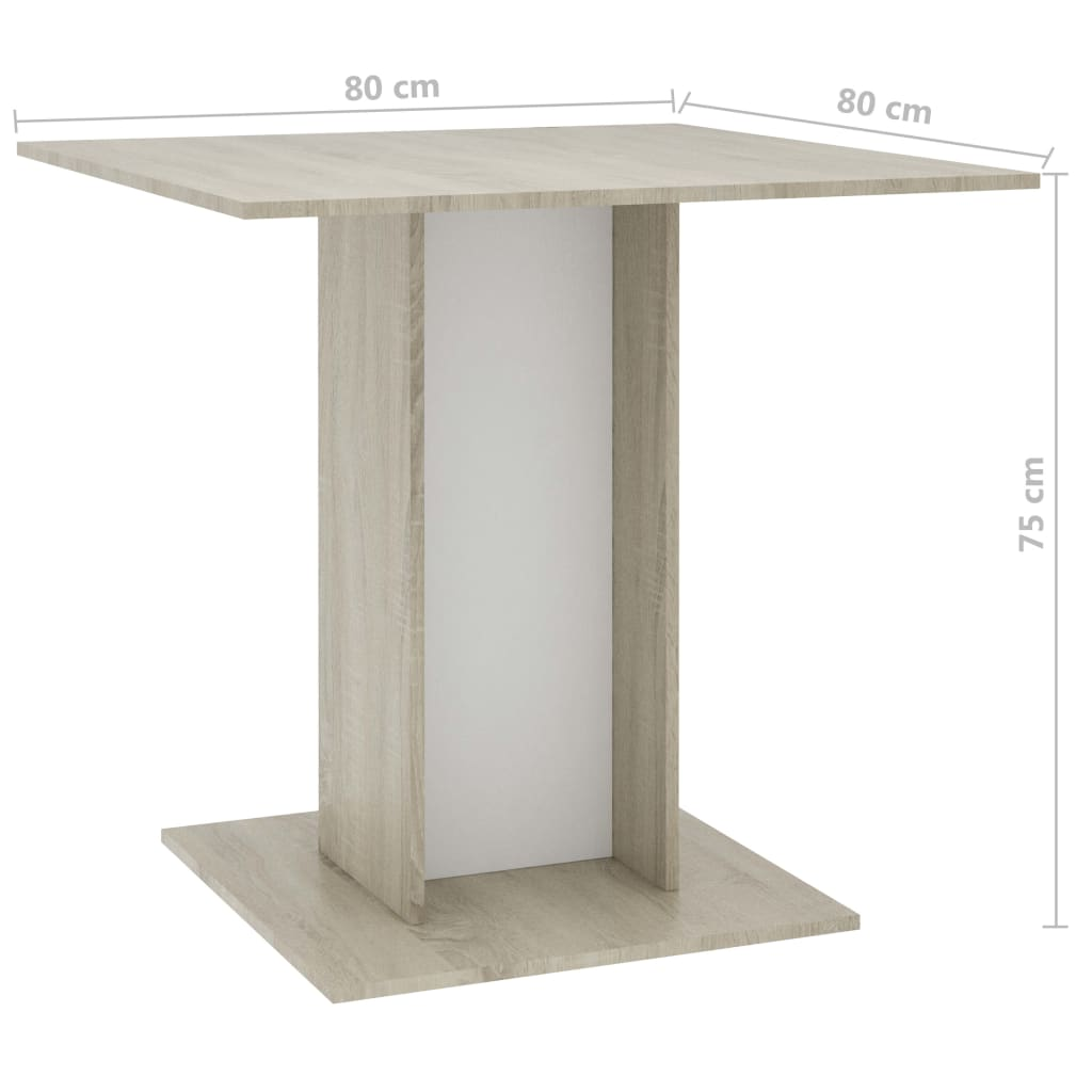 Dining Table White and Sonoma Oak 80x80x75 cm Chipboard 6