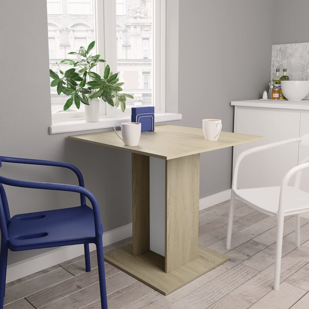 Dining Table White and Sonoma Oak 80x80x75 cm Chipboard 1