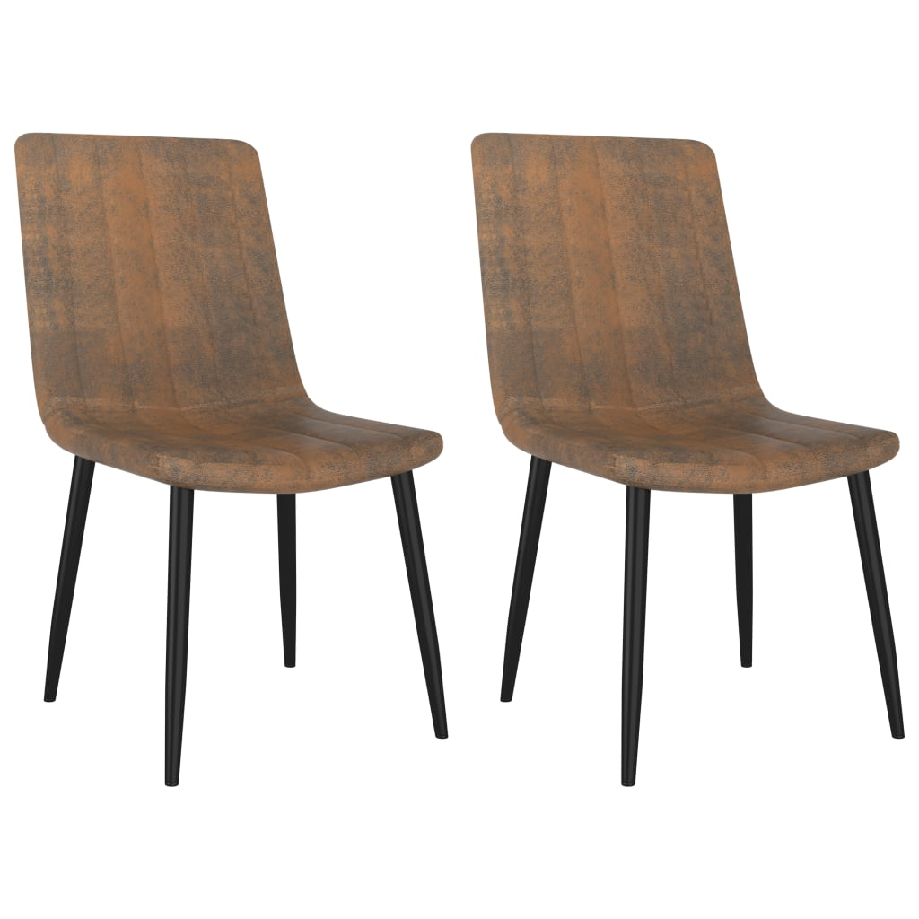 Dining Chairs 2 pcs Brown Faux Leather