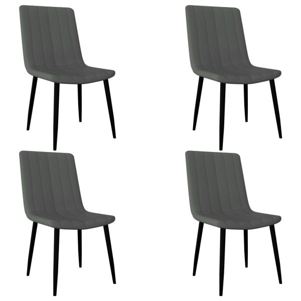 Dining Chairs 4 pcs Light Grey Faux Leather 1