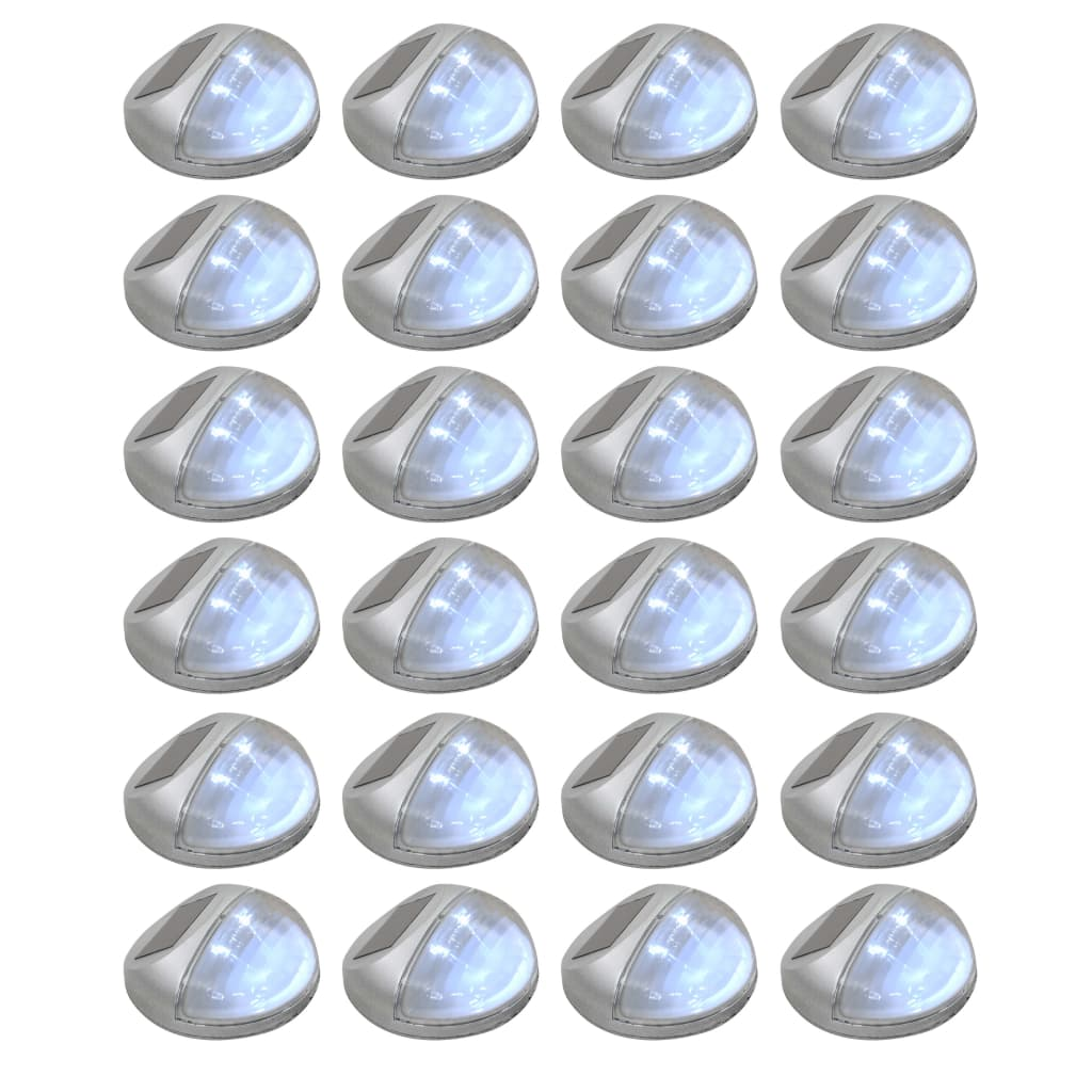 Outdoor Solar Wall Lamps LED 24 pcs Round Silver