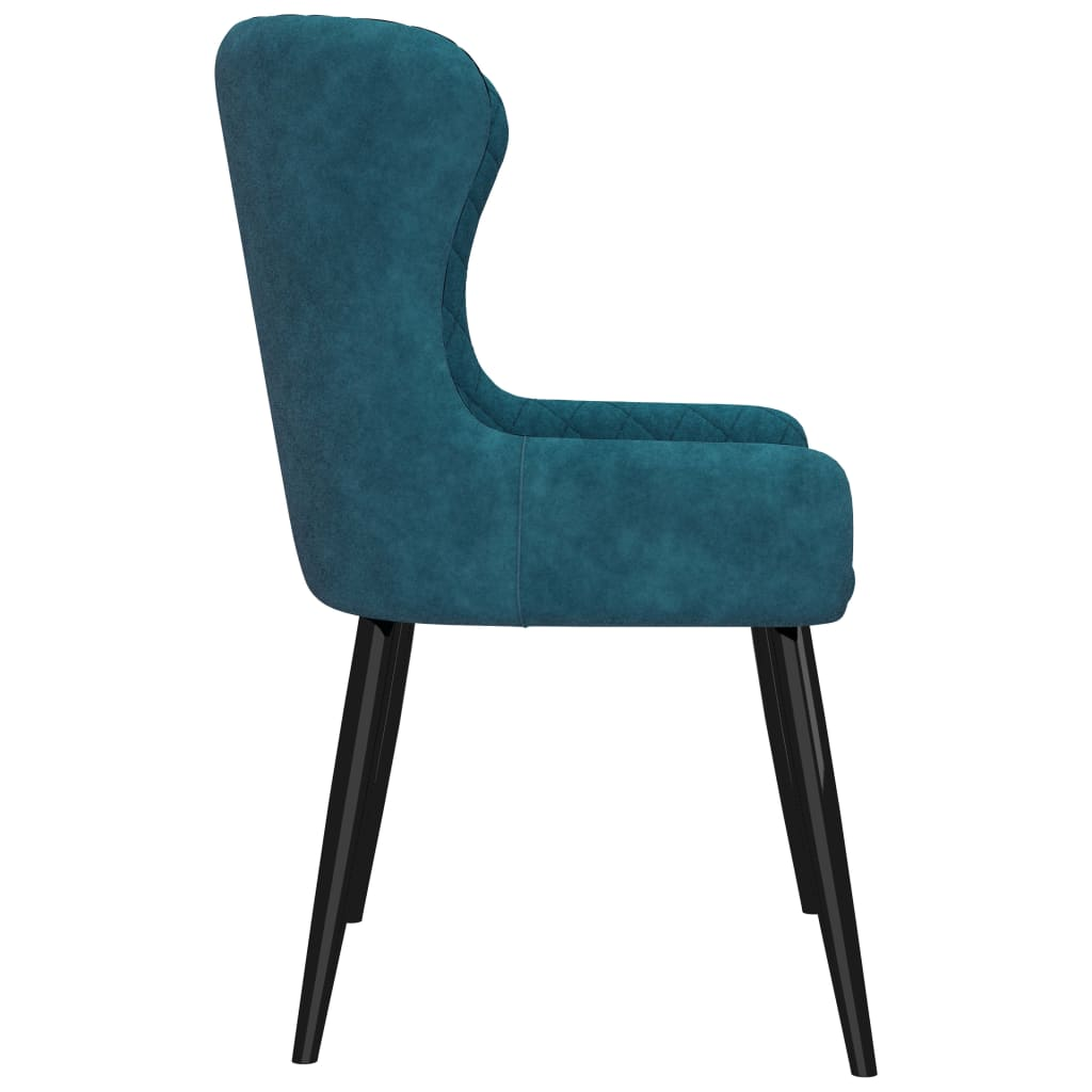 Dining Chairs 2 pcs Blue Velvet 4