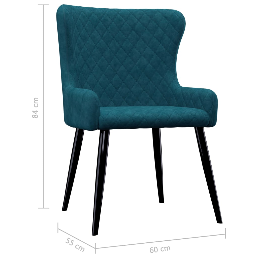 Dining Chairs 2 pcs Blue Velvet 7